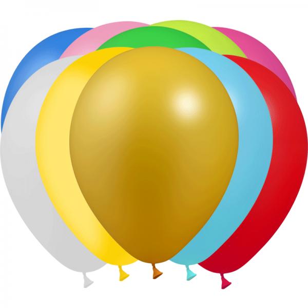 100 ballons assortis métal 28 cm