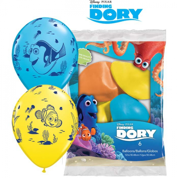 6 ballons Dory et amis qualatex 30 cm