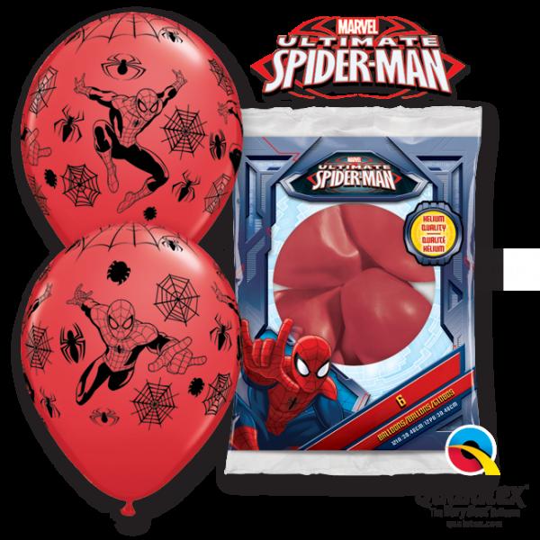 6 ballons Spiderman qualatex 30 cm