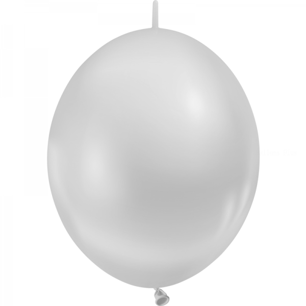 10 ballons double attache 30 cm argent