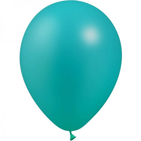 10 ballons turquoise métal 28 cm