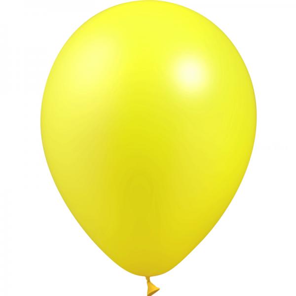50 ballons Jaune citron métal 28 cm
