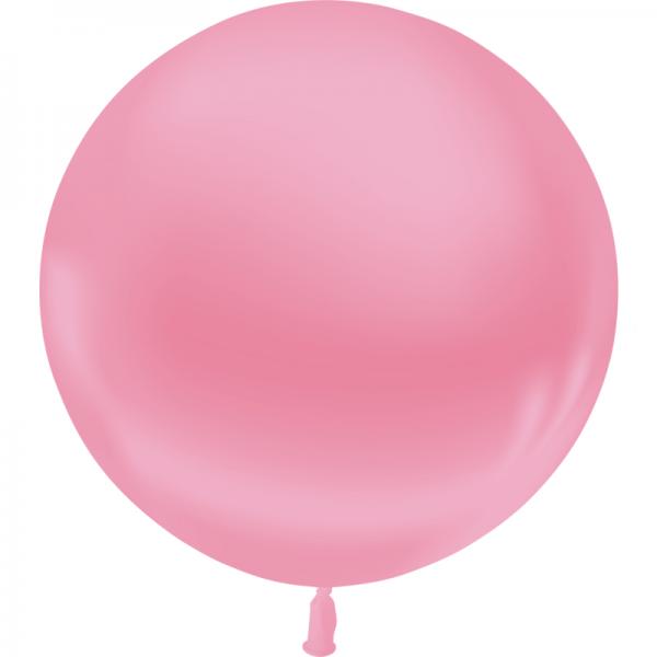 1 ballon 55 cm rose metal
