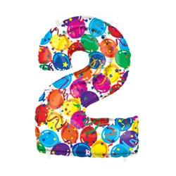 Chiffre festival color métal mylar 2 BETALLIC Chiffres Festival Couleur (Gonflage Air Ou Et Helium)