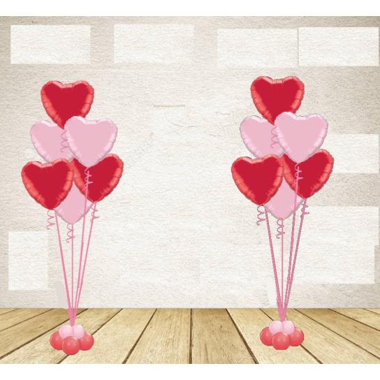 Kit 2 Bouquets 6 coeurs rouge et rose