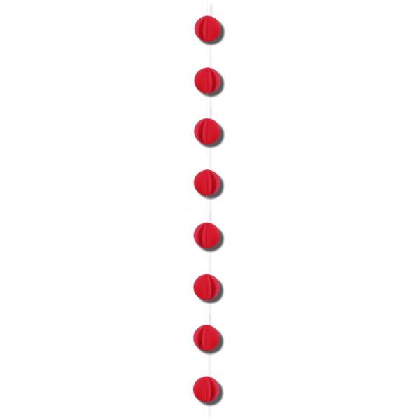 1 guirlande verticale rouge 2m gros confettis papier 8cm