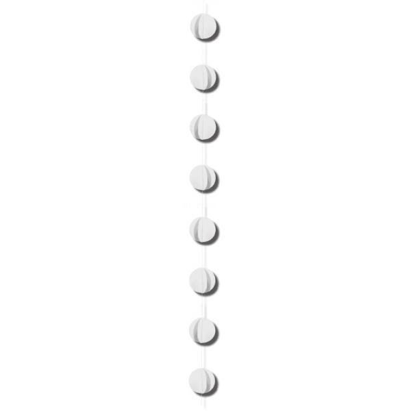 1 guirlande verticale blanche 2m gros confettis papier 8cm