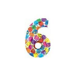 Chiffre festival color métal mylar 6 BETALLIC Chiffres Festival Couleur (Gonflage Air Ou Et Helium)