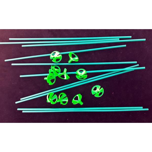 10 tiges à ballons verte 40 cm