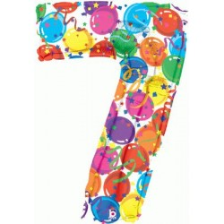 Chiffre festival color métal mylar 7 BETALLIC Chiffres Festival Couleur (Gonflage Air Ou Et Helium)