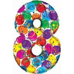 Chiffre festival color métal mylar 8 BETALLIC Chiffres Festival Couleur (Gonflage Air Ou Et Helium)