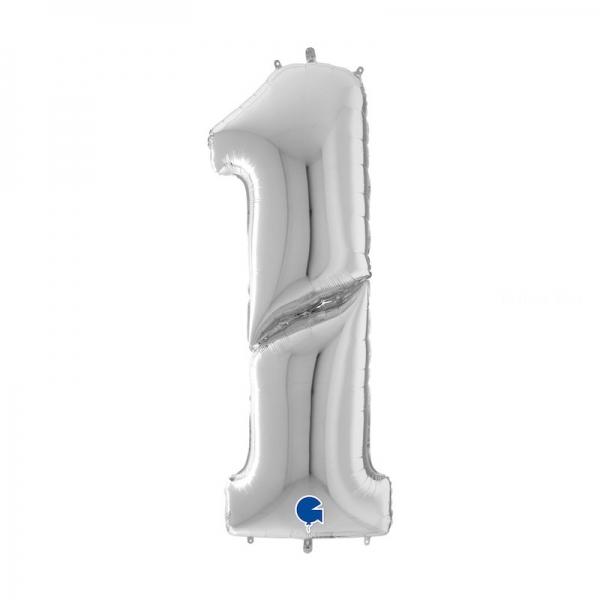 1 ARGENT Chiffre métal mylar 162 cm