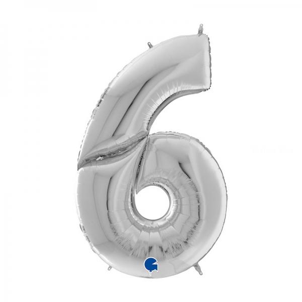 6 ARGENT Chiffre métal mylar 162 cm