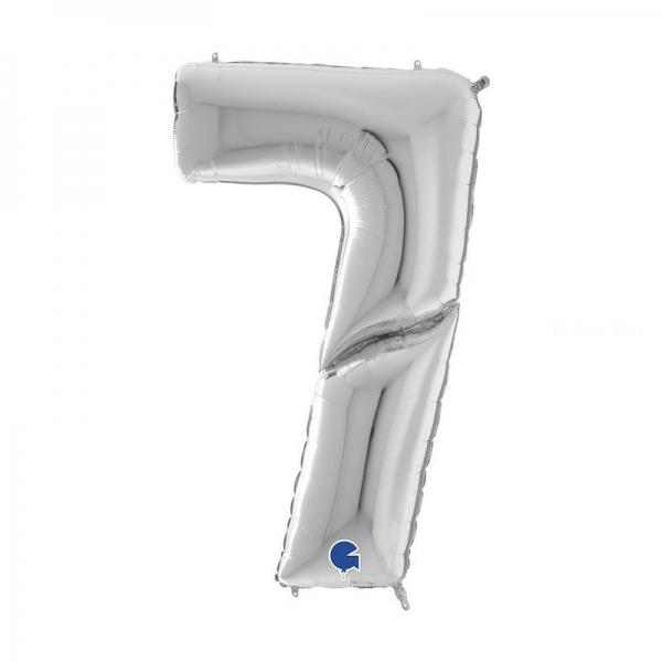 7 ARGENT Chiffre métal mylar 162 cm