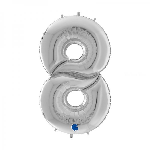 8 ARGENT Chiffre métal mylar 162 cm