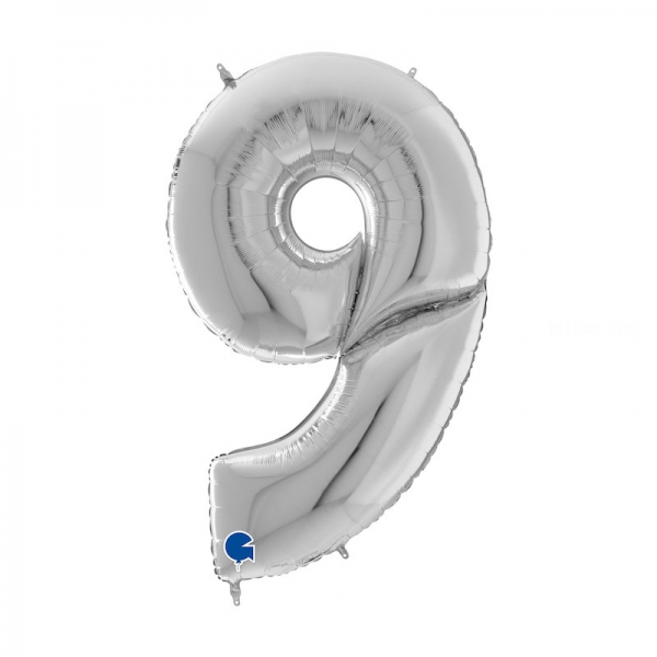 9 ARGENT Chiffre métal mylar 162 cm