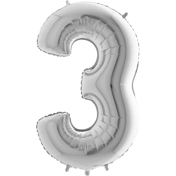 3 chiffre 35 cm mylar argent