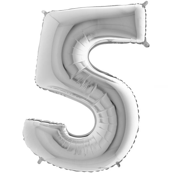 5 chiffre 35 cm mylar argent