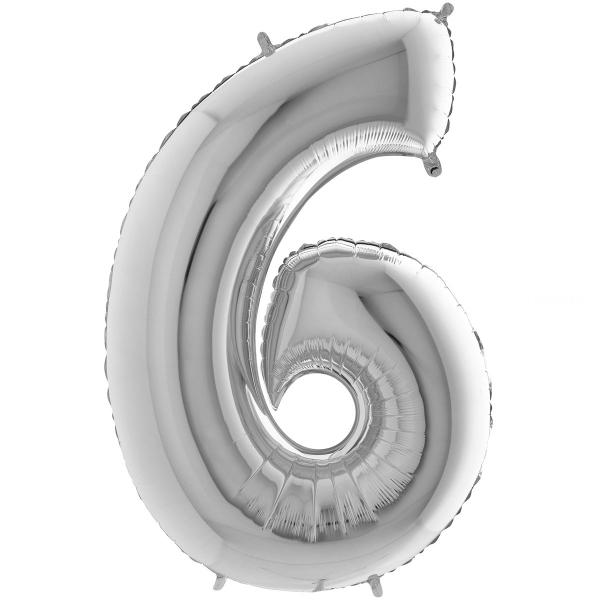 6 chiffre 35 cm mylar argent