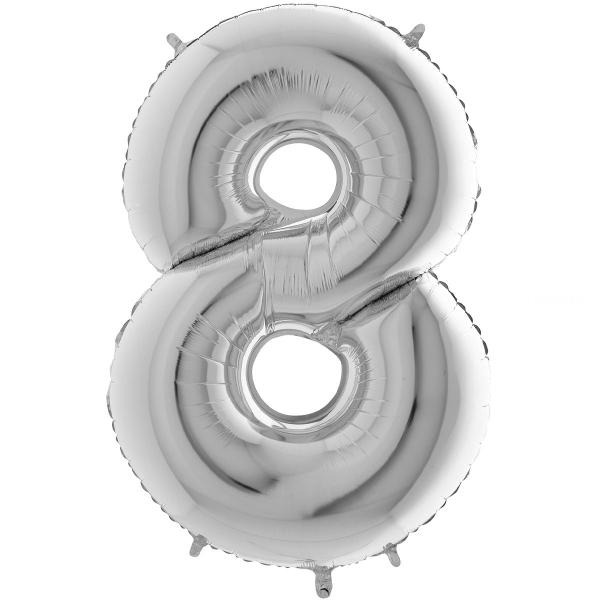 8 chiffre 35 cm mylar argent