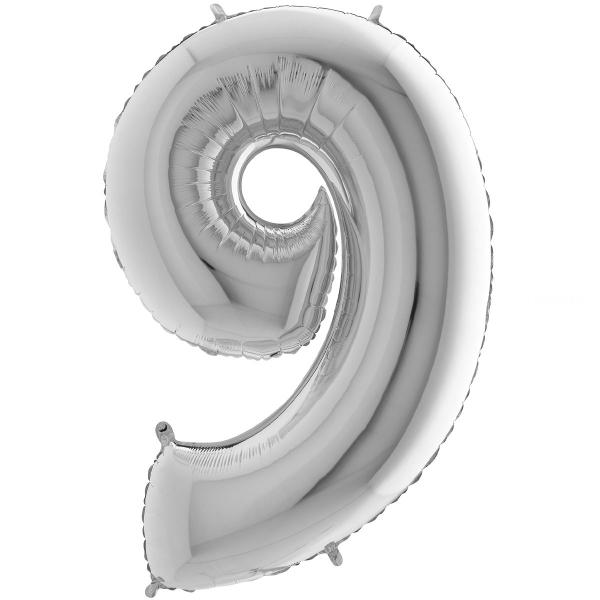 9 chiffre 35 cm mylar argent