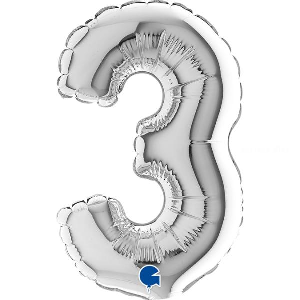 """3 chiffre 14 cm mylar argentcm14A3 micro chiffres et lettres 7\\"""" 17cm"""