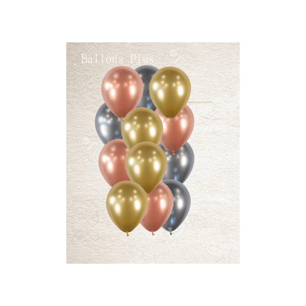 bouquet de 12 ballons 3 couleurs effet miroir