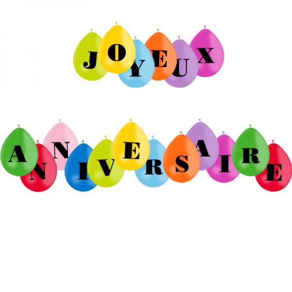 guirlande Joyeux anniversaire 18 ballons