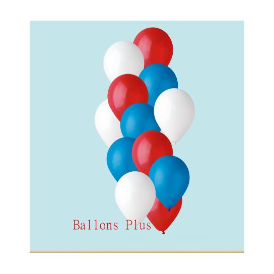 bouquet de 12 ballons bleu blanc rouge