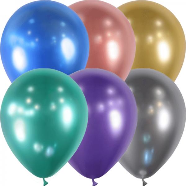 25 ballons assortis effet miroir métal 28 cm