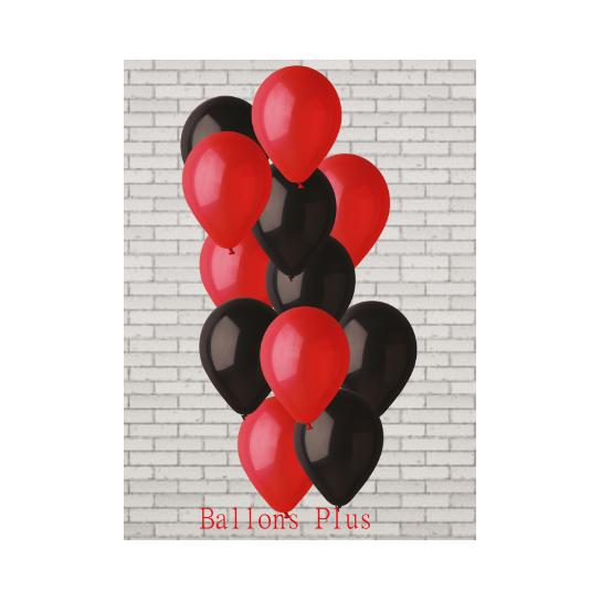 bouquet de 12 ballons et fil rouge et noir