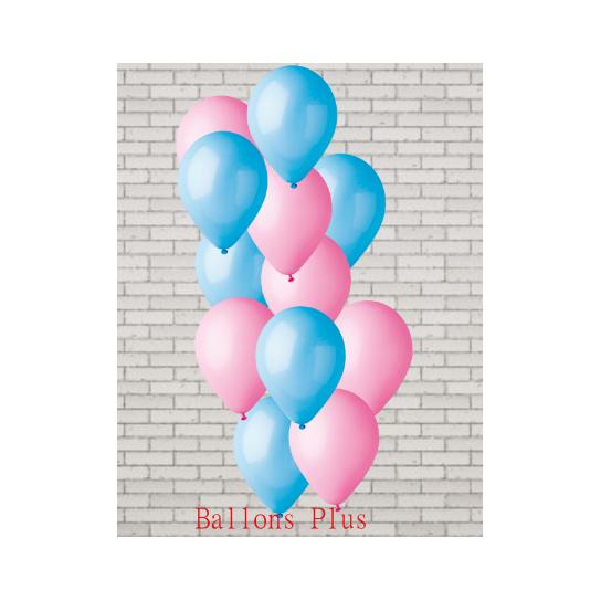 bouquet de 12 ballons et fil rose baby et bleu ciel