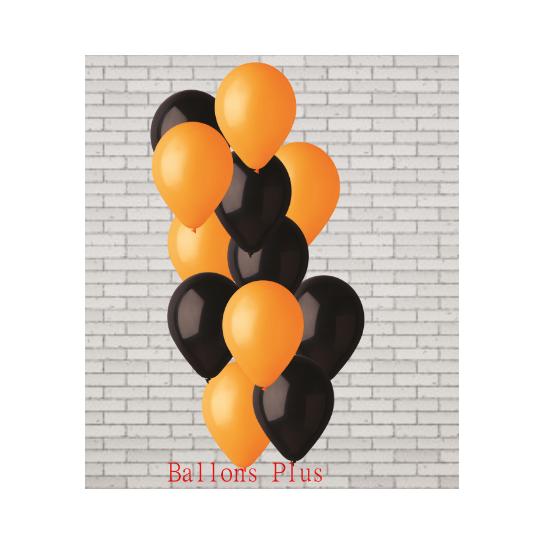 bouquet de 12 ballons et fil orange et noir