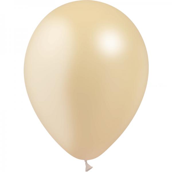 100 ballons ivoire métal opaque 14 cm