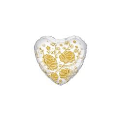 ballon coeur mylar cristal transparent avec rose or imprimé 60 cm diamètre