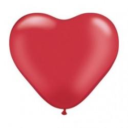 Coeur qualatex 28 cm rouge en poche de 25 LES BALLONS COEURS DE 25 A 35 CM