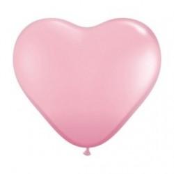 Coeur qualatex 28 cm rose en poche de 25