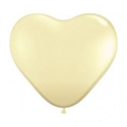 Coeur qualatex 28 cm ivoire poche de 25