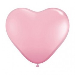 Coeur qualatex 38 cm rose en poche de 5