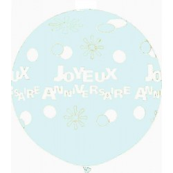 joyeux anniversaire points et fleurs 90 cm de diamètre transparent6105_1243583683 Anniversaire Baudruches Imprimes