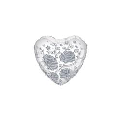 ballon cristal mylar forme coeur avec rose argent 60 cm de diamètre
