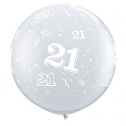 ballon qualatex transparent avec 21tout autour, 90 cm diamètre