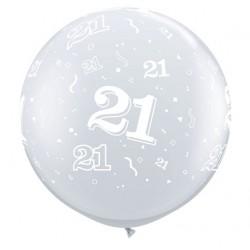 ballon qualatex transparent avec 21tout autour, 90 cm diamètre Chiffres De 18 A 100 Ballons Imprimes