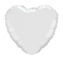 coeur blanc mylar 10 cm vendu non gonflé