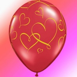 25 ballons rouge cristal ruby red imprimé coeurs or