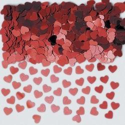 confetti métallique coeur rouge en poche de 14 grammes
