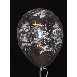 50 ballons joyeux anniversaire 28 cm de diamètre transparent