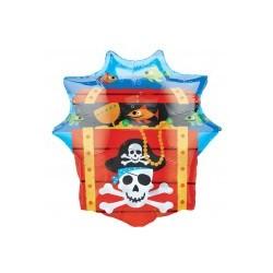 coffre pirate mylar non gonflé 63*71 Pour Les Pirates Et Compagnie