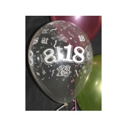 18 cristal transparent 28 cm poche de 2513507 QUALATEX Chiffres De 18 A 100 Ballons Imprimes