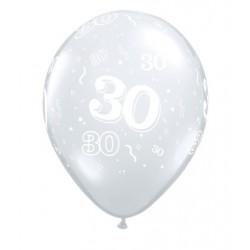 30 cristal transparent 28 cm de diamètre qualatex1557_318435878 Chiffres De 18 A 100 Ballons Imprimes